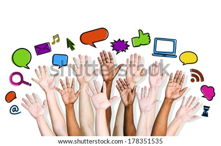 Social Networking Communications with Variation of Hands - stock photo