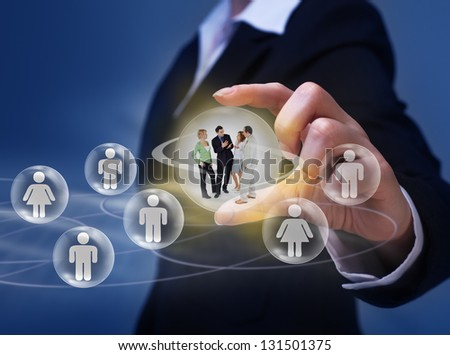 Social networking concept - with group of young people interacting - stock photo