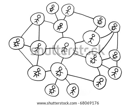 Social networking diagram on white background - stock photo