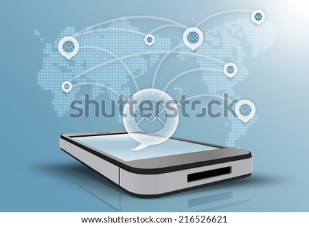 Social networking internet all over the world - stock photo