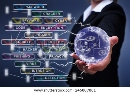 Social networking, internet and cyber security concept - stock photo