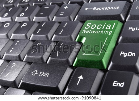 social networking on keyboard - stock photo