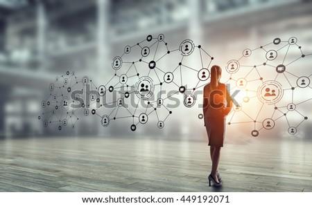 Social networking technologies . Mixed media - stock photo