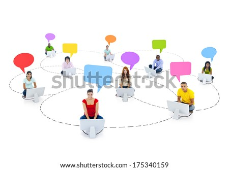 Social Networking Theme with Young People on Computers - stock photo