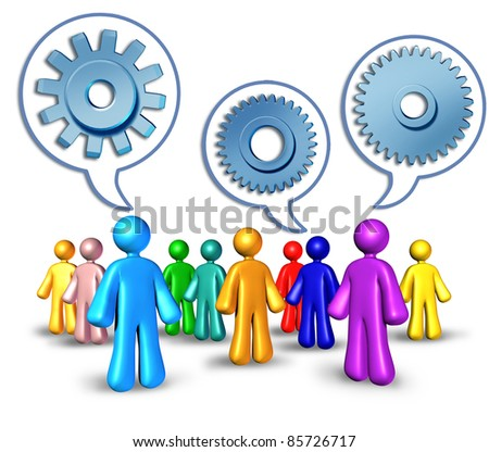 Social networking with referrals by different people talking using word bubbles with cogs and gears for social media concept of sharing information technology for building a business for success.