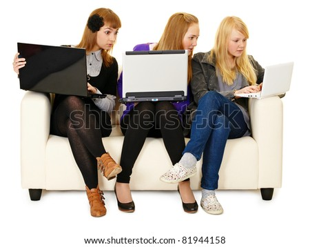 Social networks communication for youth - stock photo