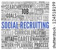 Social recruiting concept in word tag cloud on white background - stock vector