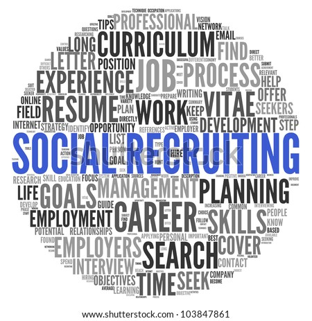 Social recruiting concept in word tag cloud on white background - stock photo