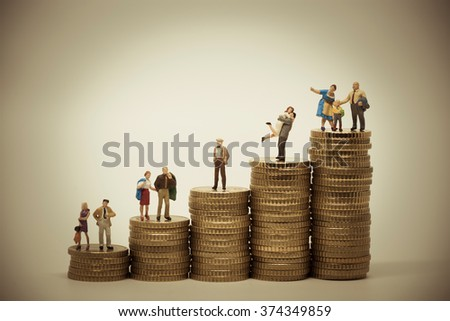 Social scale-concept of various persons in different positions on piles of coins. Vintage color tone - stock photo