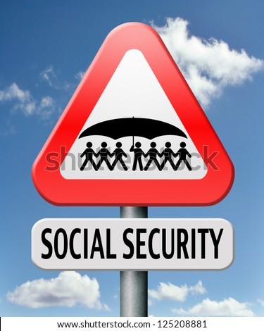 social security services benefit plans for retirement healthcare disability and unemployment - stock photo