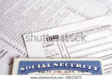 Social Security tax on form 1040 - stock photo