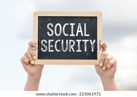 Social security. Woman holding blackboard over cloudy background with text Social security