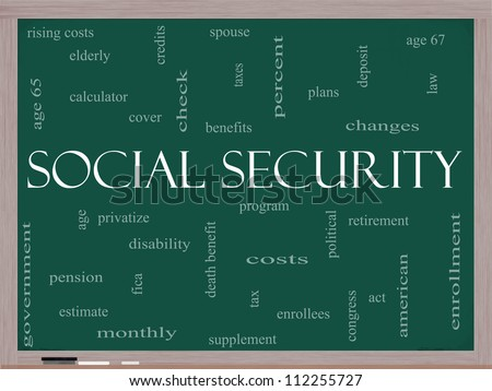 Social Security Word Cloud Concept on a Blackboard with great terms such as age 65, retirement, government, credits, taxes, law and more.
