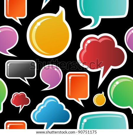 Social speech bubbles in different colors and forms seamless pattern illustration. Black background. - stock photo