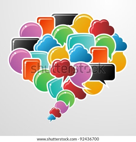 Social speech bubbles in different colors and shapes in communication speech illustration. - stock photo