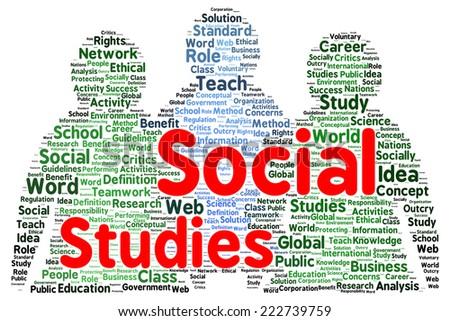 Social studies word cloud shape concept - stock photo