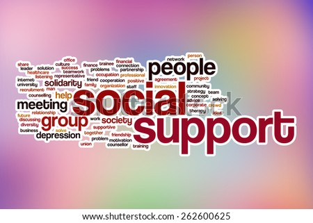 Social support word cloud concept with abstract background - stock photo