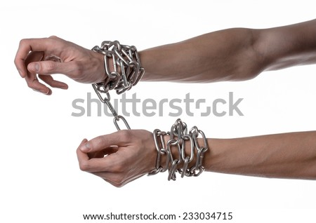 Social theme: hands tied a metal chain on a white background - stock photo