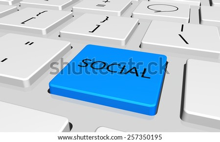 social  with word key or keyboard - stock photo