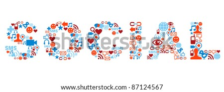 Social word made with media icons set. - stock photo