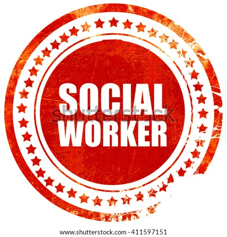 social worker, red grunge stamp on solid background - stock photo
