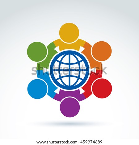 Society and business taking care about the world, global peace wealth and ecology theme icon,  conceptual stylish symbol for your design. - stock photo
