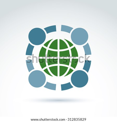 Society taking care about ecology and earth, conceptual unusual symbol for your design. - stock photo