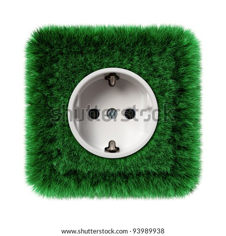 socket covered with green grass - stock photo