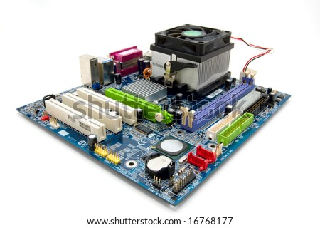 Socket 775 motherboard isolated on white - stock photo