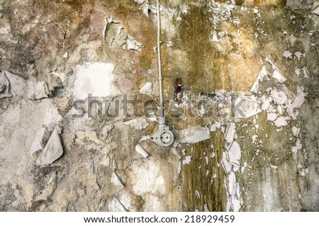 Socket on the wall of an abandoned house - stock photo