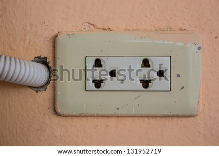 Socket used for supplying power to electrical appliances - stock photo