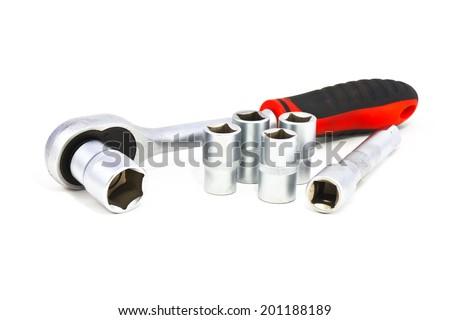 socket wrench on white background - stock photo