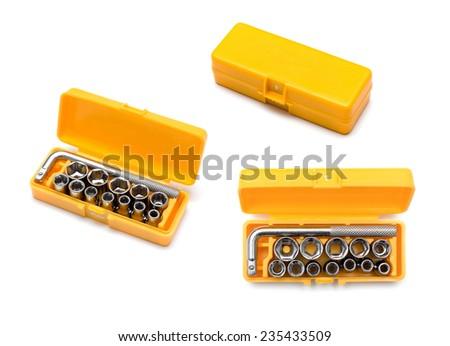 socket wrench set on white background - stock photo