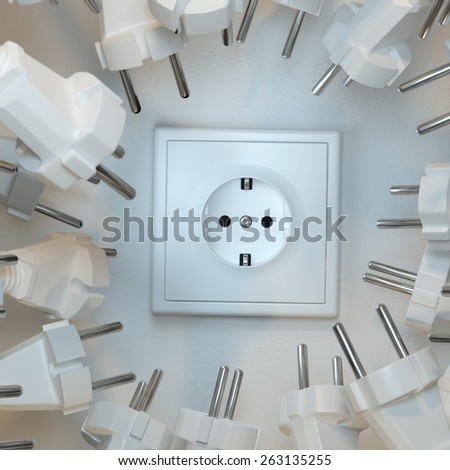 Sockets Need To Plugging In (Zoom Version) technology conceptual picture - stock photo