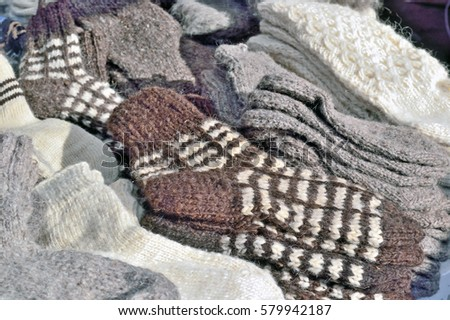 Socks Knitted Wool Different Patterns Colors Stock Photo Download