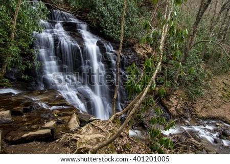 Soco Falls. Beautiful and popular Soco Falls in Maggie Valley, North Carolina. - stock photo
