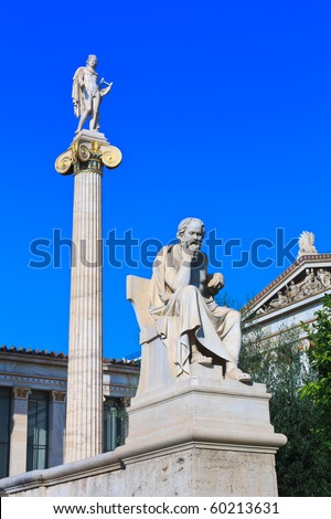 Socrates and Apollo statues in Greece - stock photo