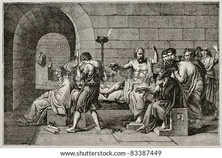 Socrates death old illustration, after tablet of David, published on Magasin Pittoresque, Paris, 1840 - stock photo