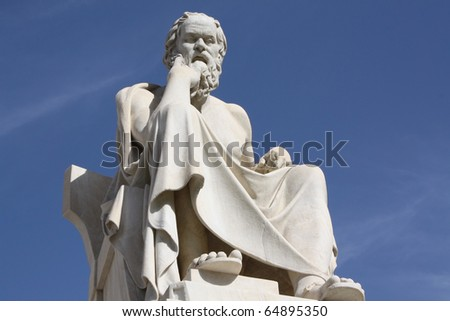 Socrates in Athens. Neoclassical statue of this ancient Greek philosopher in front of the National Academy of Athens, Greece. - stock photo