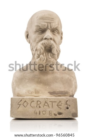Socrates statue isolated on white - stock photo