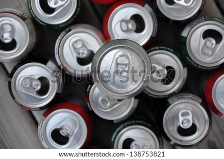 Soda and beer canisters - stock photo