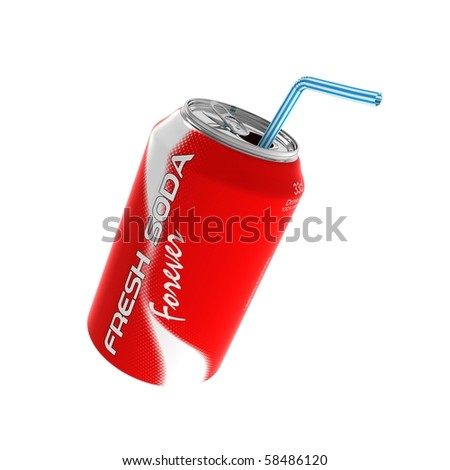 soda can on white background - stock photo