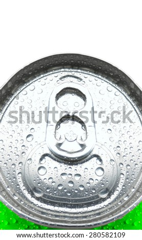 Soda Can with Pull Tab and Condensation - stock photo