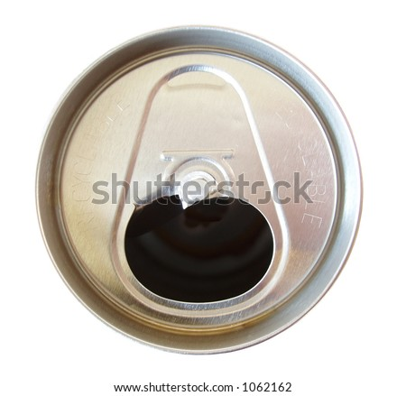 soda can with tab off isolated on white background - stock photo