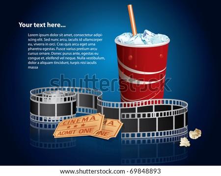 Soda, filmstrip and tickets - stock photo