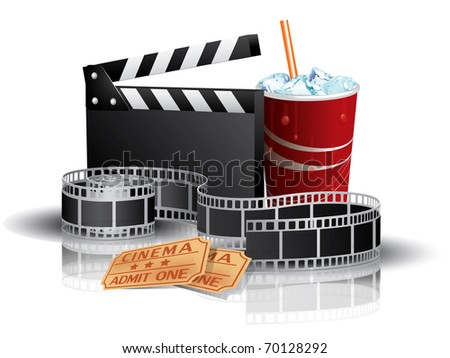Soda, filmstrip and tickets - stock photo