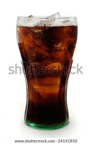 Soda in a glass with clipping path - stock photo