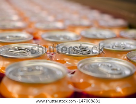 Soda pop cans - stock photo