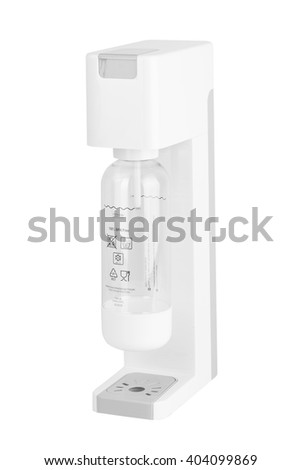 Soda sifon on Seltzer bottle. Side view. Isolated on white background. - stock photo