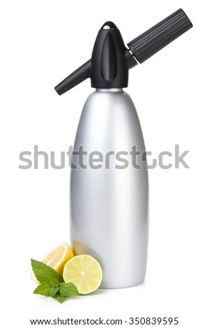 Soda siphon and citruses for home lemonade. Isolated on white background - stock photo